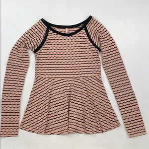 Free People Pink Striped Long Sleeve
